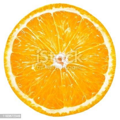 Orange fruit, slice, isolated, white background