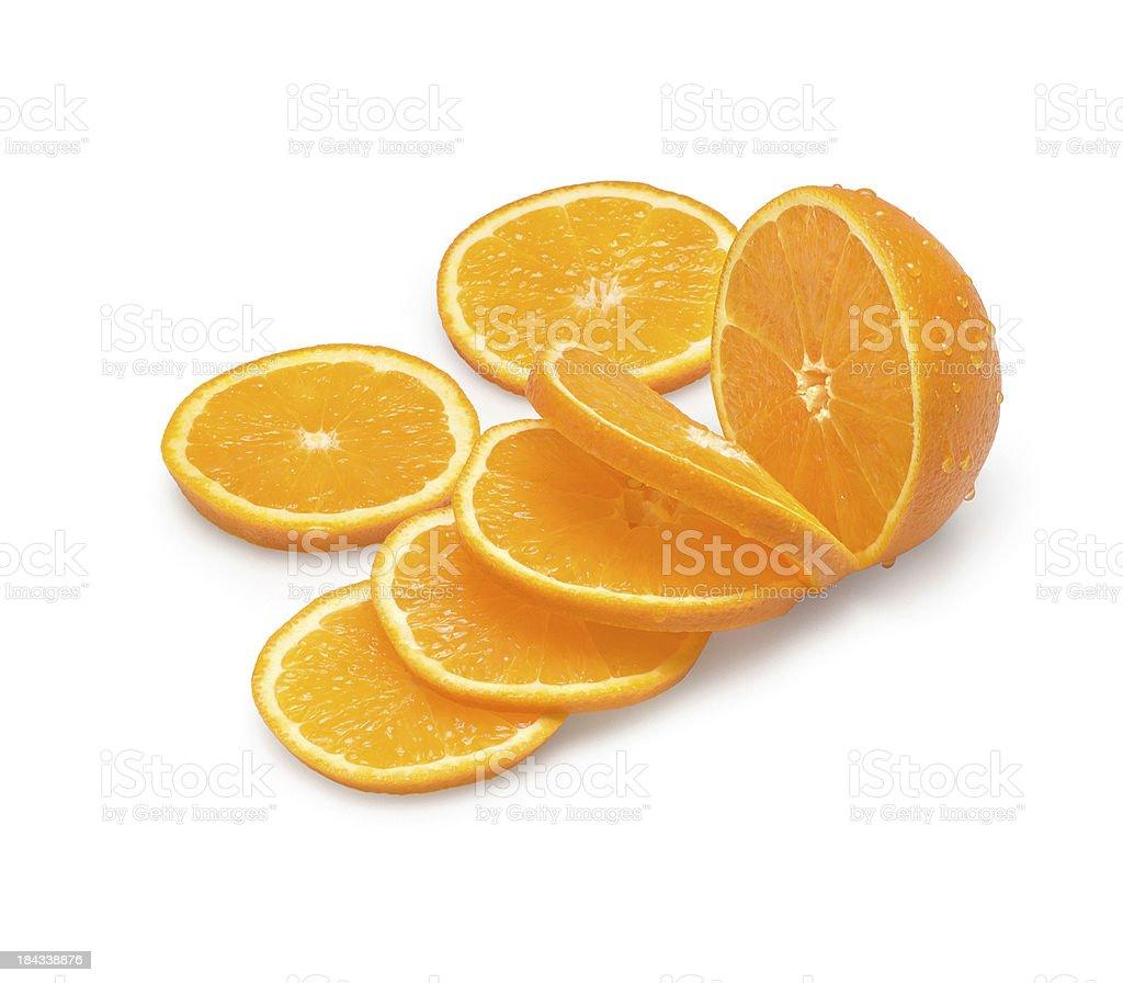 Orange slices and half orange on white background stock photo