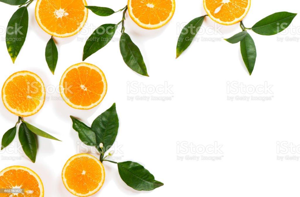Orange slices top view. - foto stock
