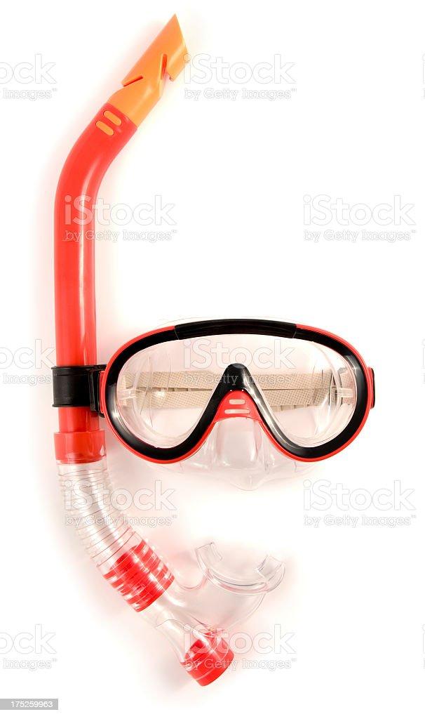 Orange snorkel and mask on white background stock photo