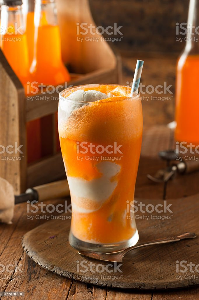 Orange Soda Creamsicle Ice Cream Float stock photo