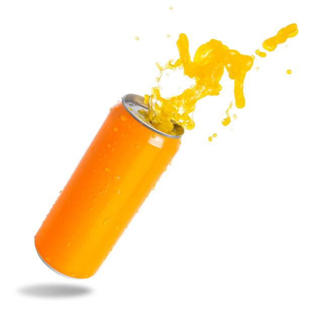 orange soda in can splashing - fruit juice bottle isolated foto e immagini stock