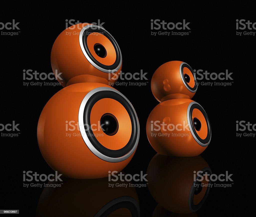 orange speaker balls stock photo