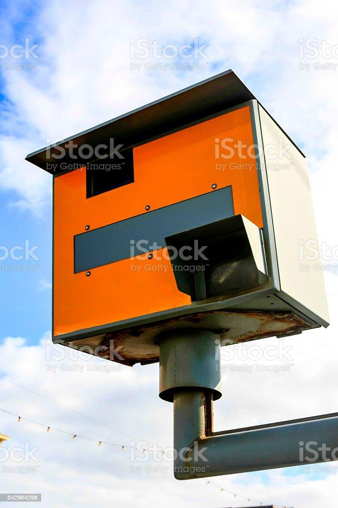 Orange Speed Camera in Blackpool, UK stock photo