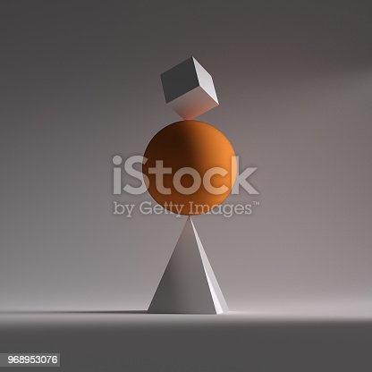 A orange sphere, a square and triangle in balance This is a 3d render illustration