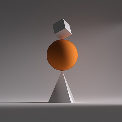 istock A orange sphere, a square and triangle in balance This is a 3d render illustration 968953076