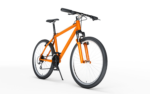 Orange sport bike looks to the right isolated on white background. 3d illustration