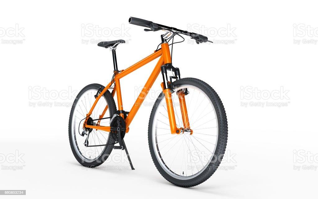 Moto esporte laranja parece à direita isolada no fundo branco. Conceito de desporto. ilustração 3D - foto de acervo