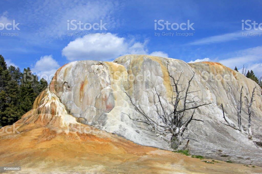 Orange Spring Mound, Mammoth Hot Springs, Yellowstone National Park, USA stock photo