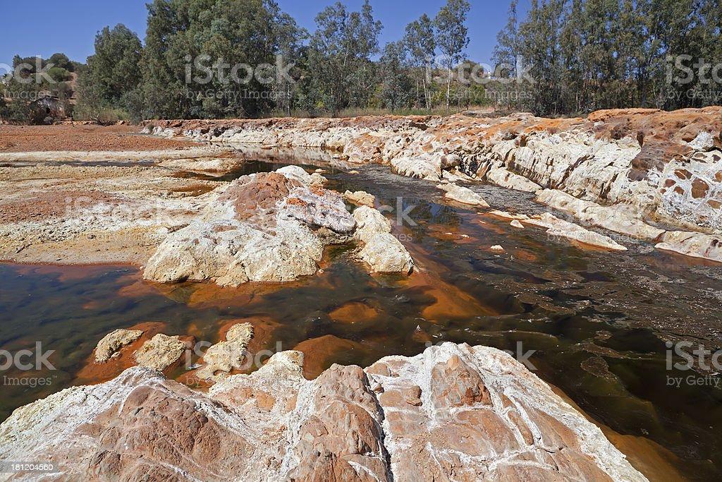 orange stones in rio Tinto royalty-free stock photo