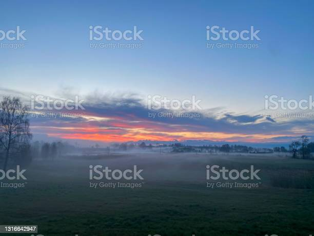 Photo of Orange sun rising behind the trees, meadow, covered with dense fog. Golden hour, foggy morning. Beautiful foggy sunrise landscape. Foggy morning with agricultural field
