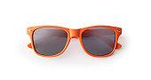 Orange sunglasses on white background