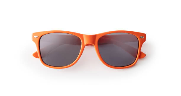 흰색 배경에 오렌지 선글라스 - 선글라스 뉴스 사진 이미지
