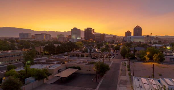 Orange Sunrise Aerial Perspective Downtown City Skyline Albuquerque New Mexico stock photo