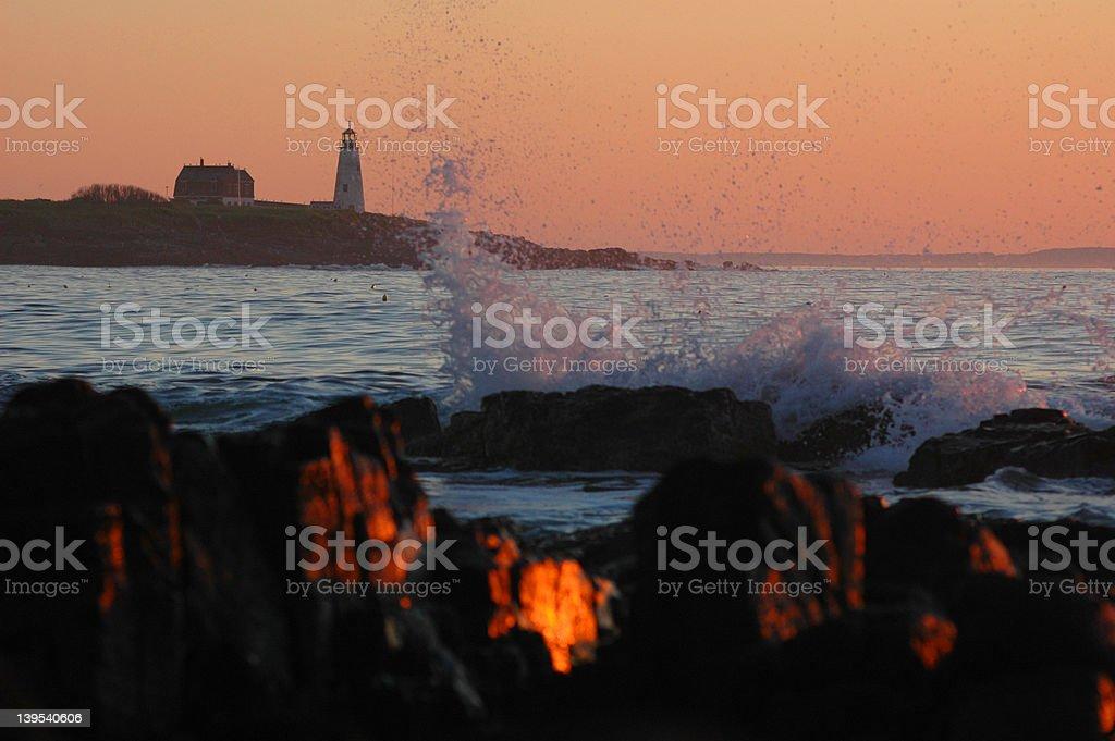 Orange sunrise in Maine royalty-free stock photo
