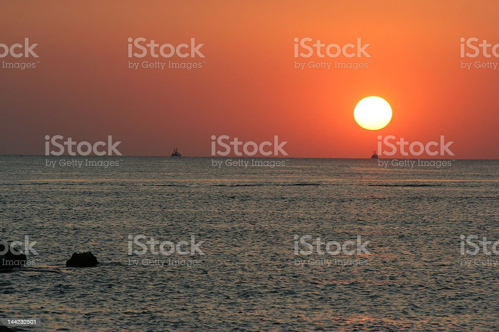 Orange sunrise over the ocean royalty-free stock photo