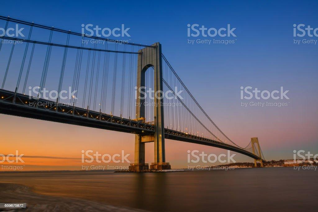 Orange sunset at Verrazano Bridge stock photo