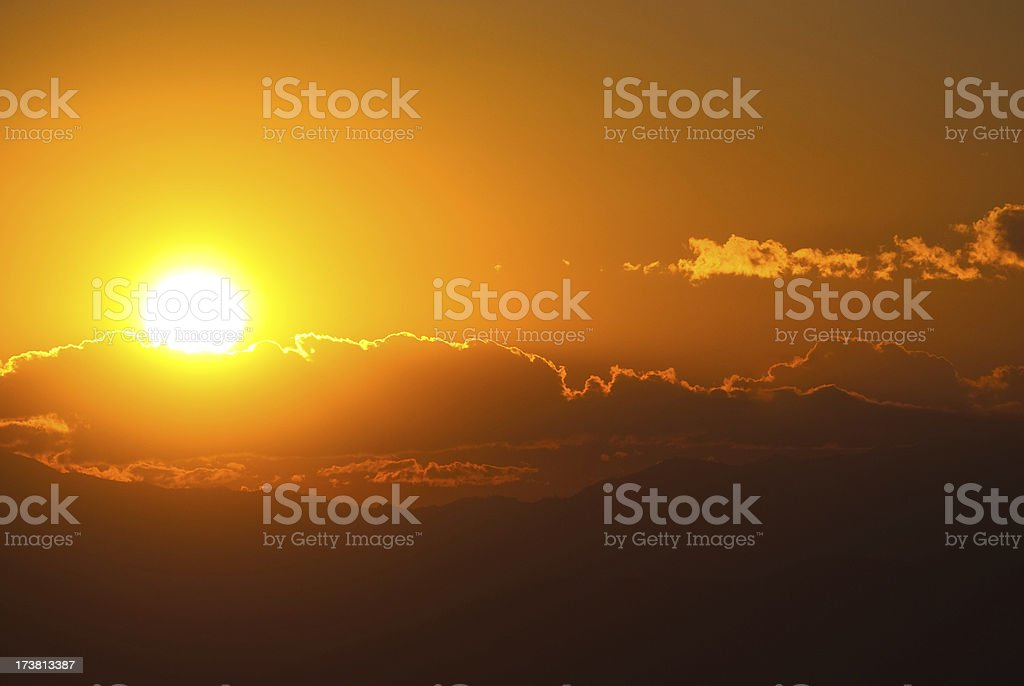 Orange Sunset in the Hills royalty-free stock photo