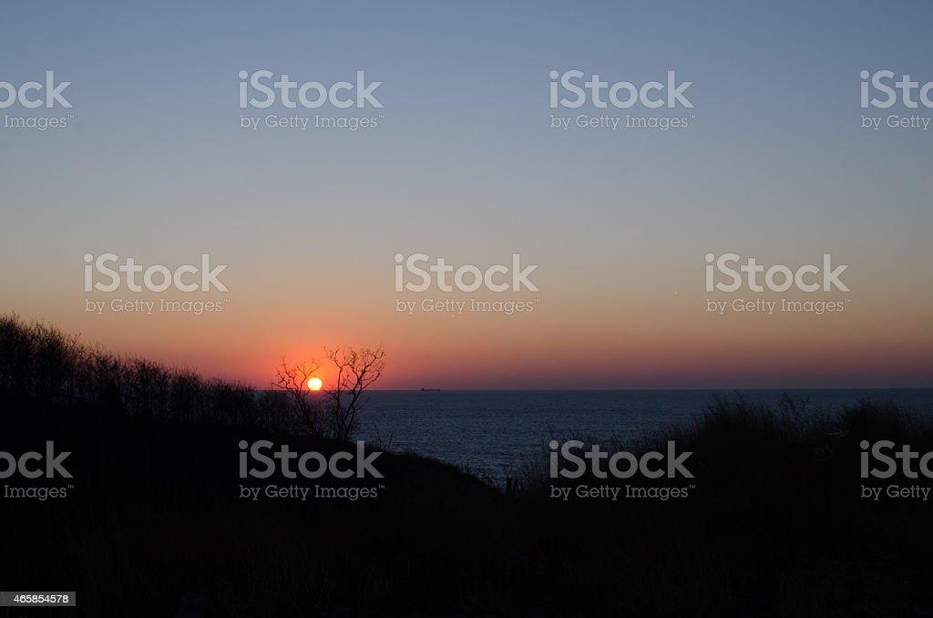 Orange Sunset of HuangHai sea. stock photo