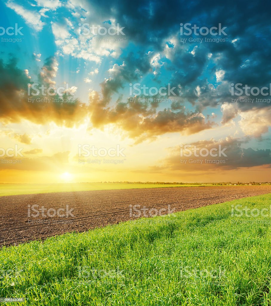 orange sunset over agriculture fields royalty-free stock photo