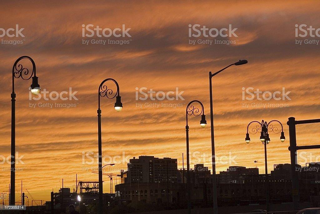 Orange sunset over city royalty-free stock photo