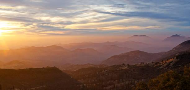 Orange Sunset over Kings Canyon National Park stock photo