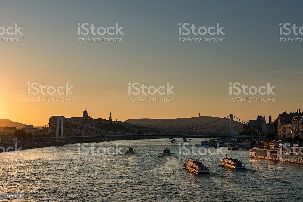 Orange sunset over the Danube, Budapest stock photo