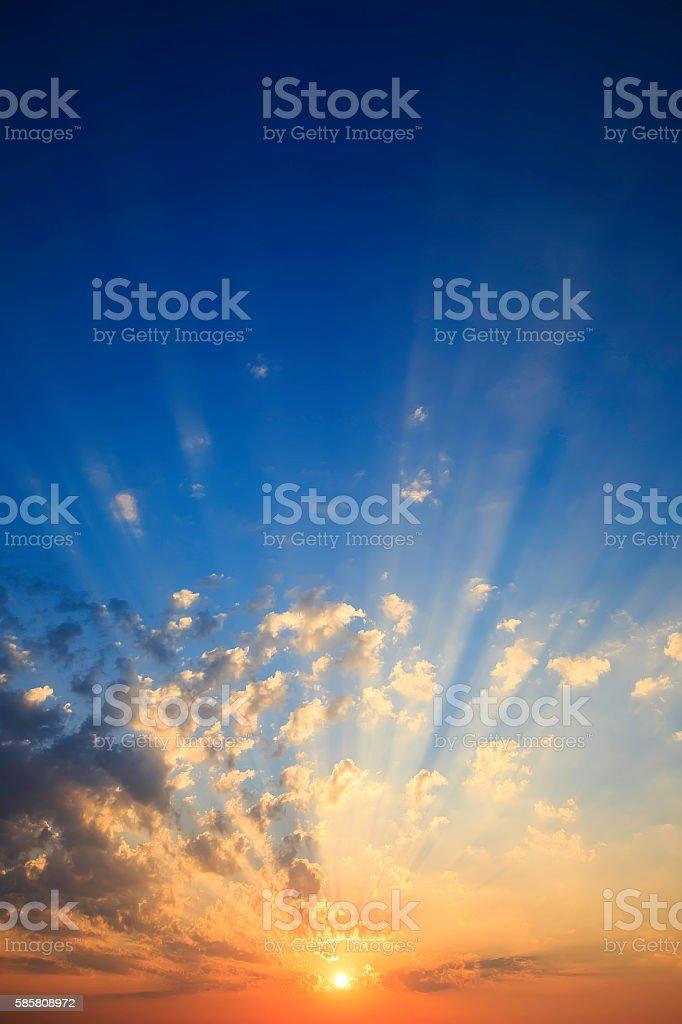 orange sunset sky with clouds – zdjęcie