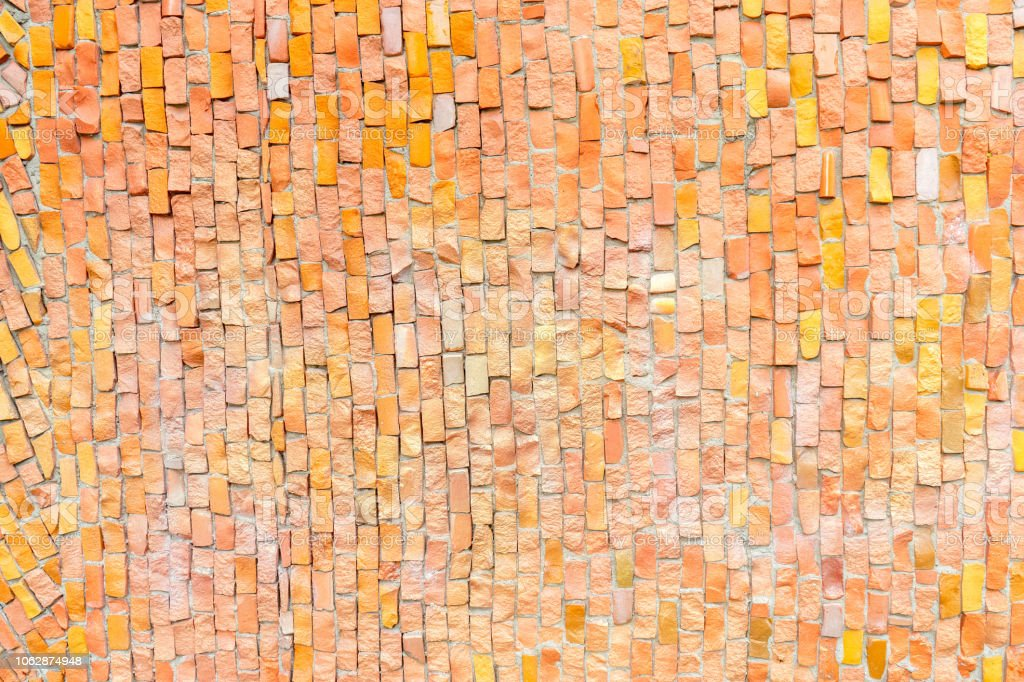 Orange Surface Of Abstract Colorful Smalt Mosaic With High