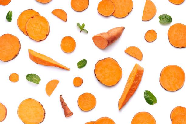 Orange Sweet Potato Food Slices Background stock photo
