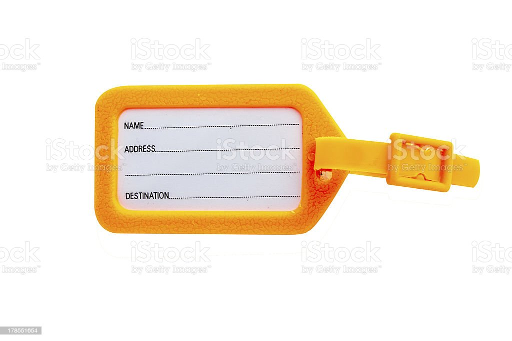 Orange tags for luggage with clipping path stock photo