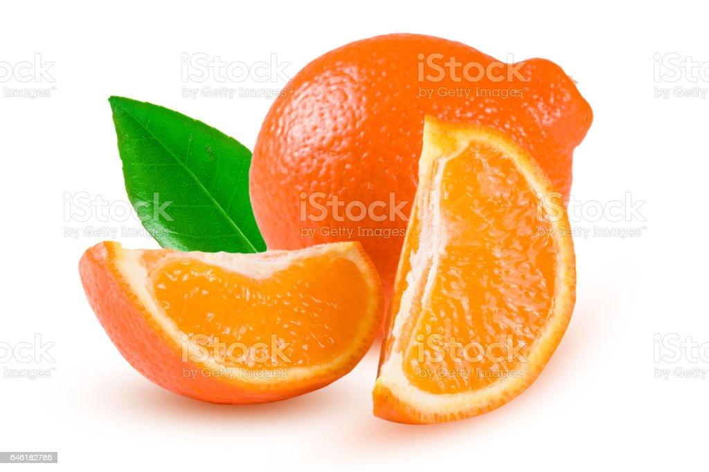 orange tangerine or Mineola with leaf isolated on white background stock photo
