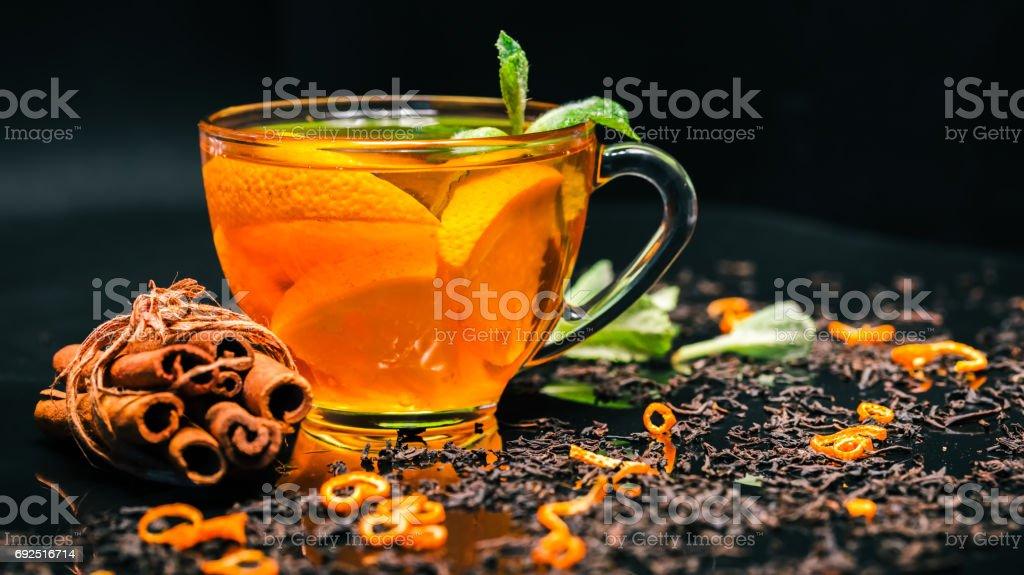 Orange tea and mint stock photo