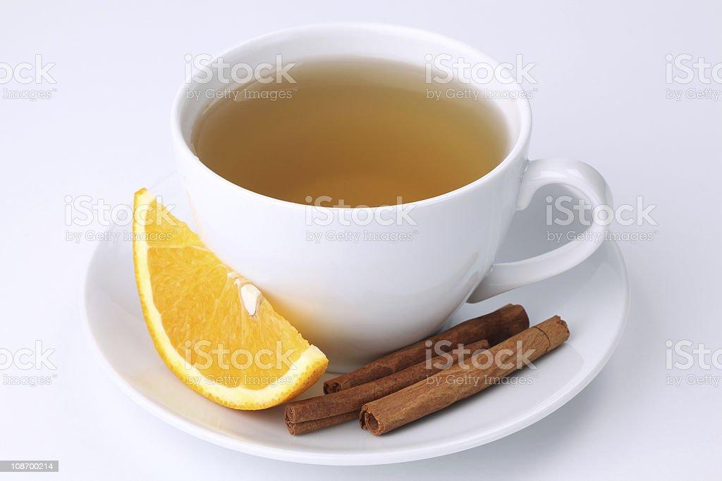 Orange tea with cinnamon royalty-free stock photo