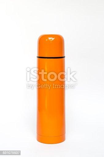 istock Orange thermos travel tumbler 531075537