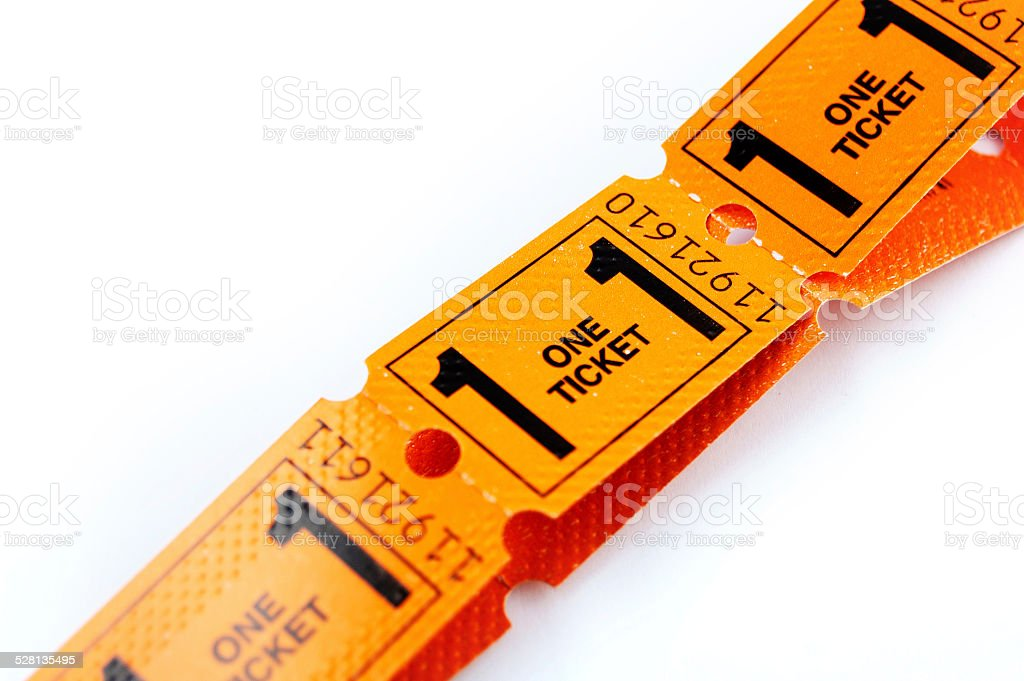 orange ticket with the number one stock photo