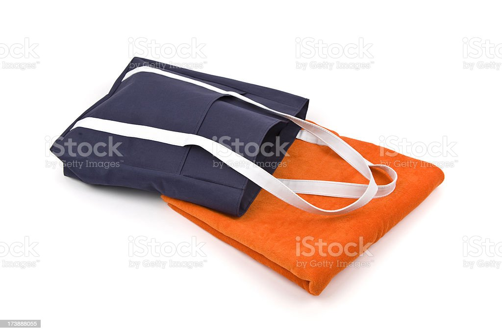 Orange Towel and Beach Bag royalty-free stock photo