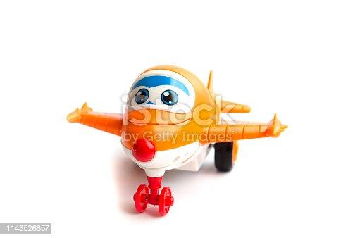 912120622 istock photo orange toy plane. children's toy. plastic toy 1143526857