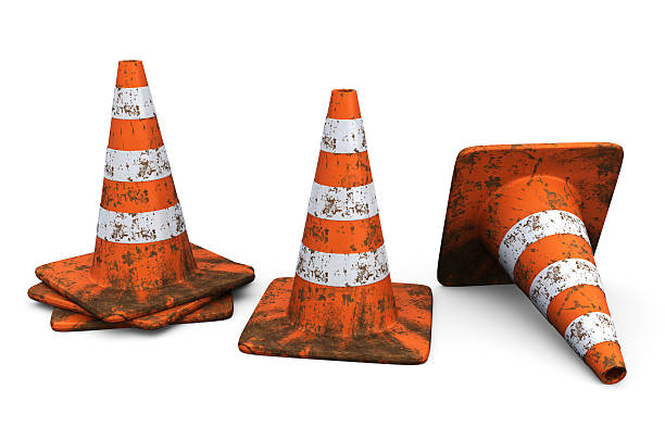 Orange Traffic Cones with Dirt stock photo