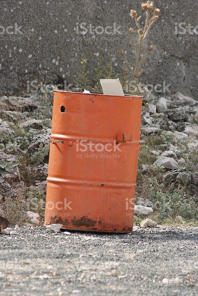 orange trash barrel royalty-free stock photo