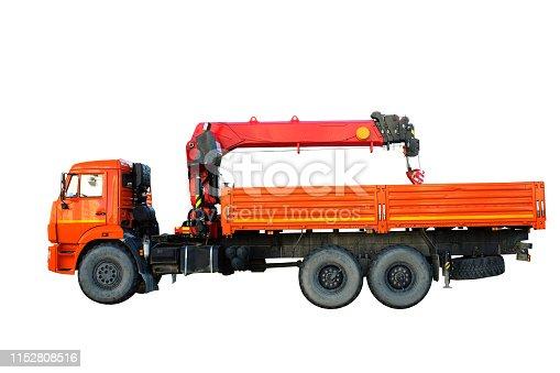 orange truck with crane isolated on white background