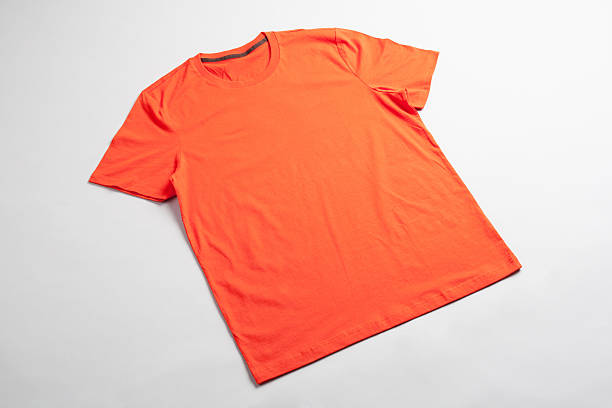 Orange tshirt template ready for your graphic design. stock photo