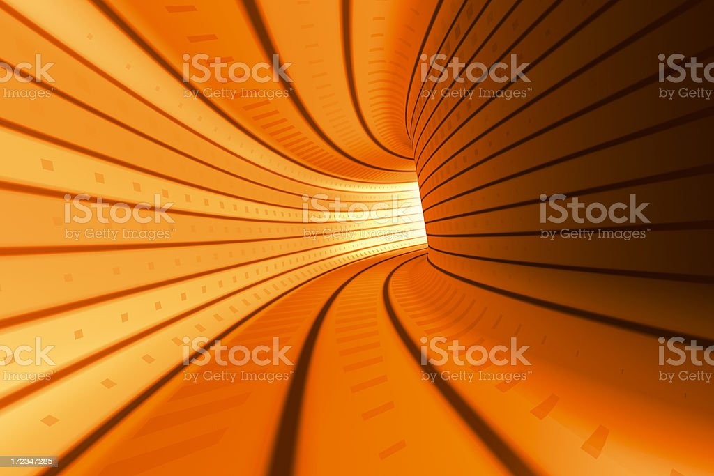 Orange Tunnel Wide Angle royalty-free stock photo