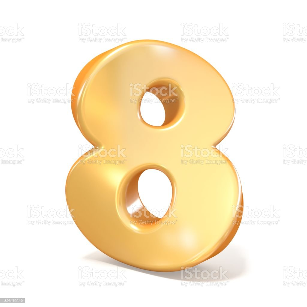 Orange twisted font number EIGHT 8 3D stock photo