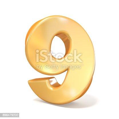 istock Orange twisted font number NINE 9 3D 896479202