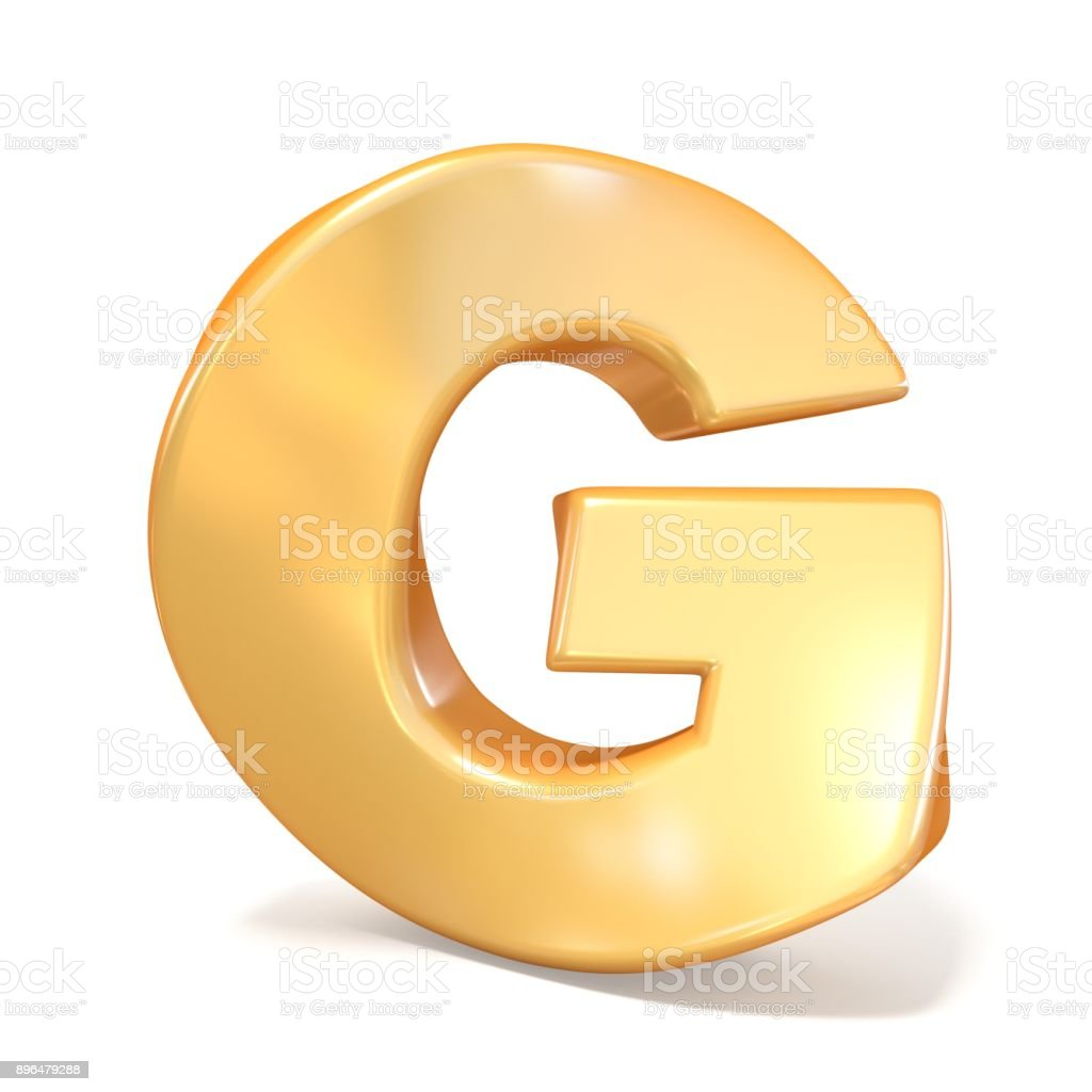 Orange twisted font uppercase letter G 3D stock photo