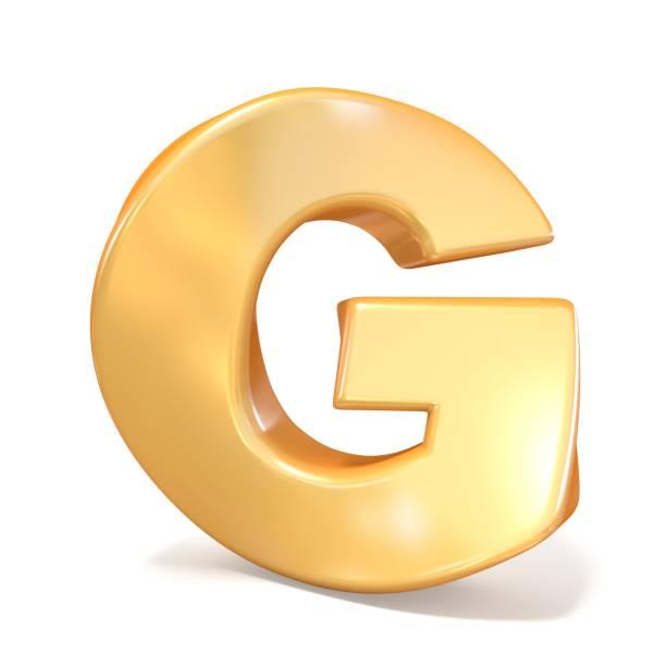 Orange twisted font uppercase letter G 3D stock photo