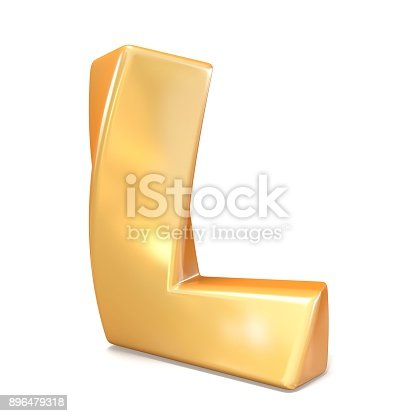 istock Orange twisted font uppercase letter L 3D 896479318