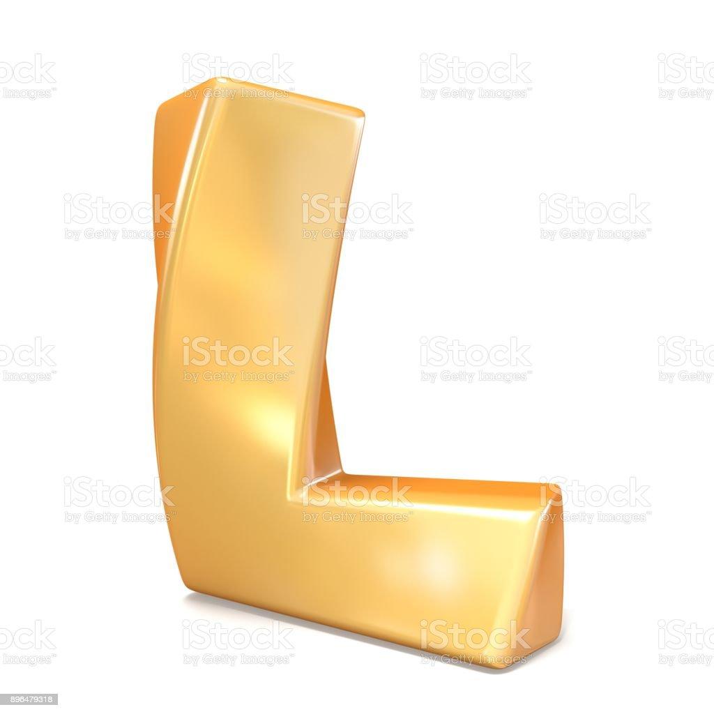 Orange twisted font uppercase letter L 3D stock photo