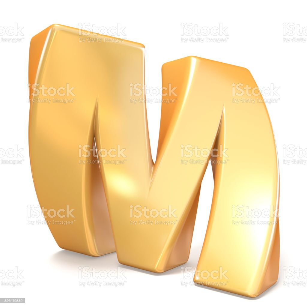 Orange twisted font uppercase letter M 3D stock photo
